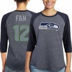 マジェスティック レディース Tシャツ トップス 12s Seattle Seahawks Majestic Women's Player Name & Number Tri-Blend Three-Quart