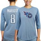 マジェスティック レディース Tシャツ トップス Marcus Mariota Tennessee Titans Majestic Women's Player Name & Number Tri-Blend