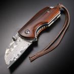折りたたみナイフ ダマスカス鋼  ライナーロック式 直刃
