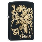 ZIPPO スカル JOKER 29632 マットブラック ジッポー オイルライター Joker 植物模様 タキシード ハット 黒 ブロンズカラー