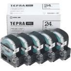 (業務用5セット) キングジム テプラ PROテープ/ラベルライター用テープ 〔幅:24mm〕 5個入り SS24K-5P ホワイト(白)