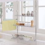 ショッピングつっぱり つっぱりキッチンラック/キッチン収納 〔幅46cm〕 スチール製 タオルバー付き