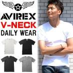 アビレックス/AVIREX リブ素材 Vネック 半袖Tシャツ 無地 メンズ ブイネック 617351 6143501