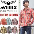アビレックス AVIREX 長袖 フランネル チェック ワークシャツ 長袖シャツ ネルシャツ チェックシャツ メンズ トップス 6165132 送料無料