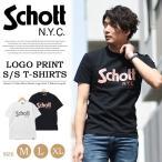 ショッピングschott Schott ショット チェッカーフラッグロゴプリント 半袖Tシャツ 日本製 クルーネック 定番 メンズ ロゴTシャツ 送料無料 3183018