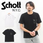 セール Schott ショット レザーポケット 半袖 Tシャツ クルーネック 半袖Tシャツ メンズ ポケットTシャツ 3193049