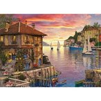 Jigsaw Puzzles 1000 Pieces Pack Harbor Sailing Sunset Landscape Puzzle for