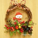 【クリスマス】クリスマスリース 16cm スノーマンマスコット付シルクフラワー(造花)&サンキライリース FL-CH-310