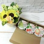 【送料無料】【お中元・サマーギフト】ひまわりと季節のお花のスタンディングブーケ(Sサイズ)&山形育ちゼリー3個ギフトセット  FL-G-159