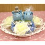 結婚式●ブライダル●ウェディングピッグ・ミニ(ブルー×ホワイト)シルクフラワーケーキリングピローFL-WG-034