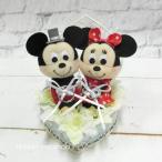 Yahoo!リボンネットショップ【結婚式】【ブライダル】ウェディングミッキー&ミニー ハートワイヤーシルクフラワー(造花)リングピロー(造花) FL-WG-365