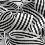リボン テープ 手芸 ストライプグログランリボン 約15mm ホワイト&チャコールグレー 9.14M巻 服飾 ラッピング FUJIYAMA RIBBON