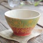 波佐見焼 フラワーアラベスク ご飯茶碗 飯碗 赤レッド 緑グリーン 和食器 和風 くらわんか碗