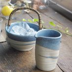 ショッピング和 2ピースセット 松助窯 家呑みセット 水差しカラフェ&アイスペール 氷入れ  藍染ブルーウェーブ