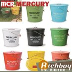 MERCURY マーキュリー オーバルバケツ フタ付き ダストビン ブリキ製 ゴミ箱 BULE ブルー 他のカラーも選べます