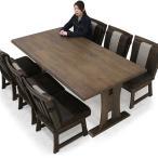 和風 ダイニングテーブルセット 6人掛け 7点 無垢材 天然木 テーブル幅190 ビンテージ調 座面 PU フェイクレザー 回転チェア クッション付き 和 和モダン