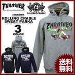 ローリングクレイドル ROLLING CRADLE スラッシャー THRASHER GO! GO! GO! SWEAT PARKA スエット パーカ グレー ブラック 黒 ネイビー メンズ レディース フード