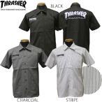 スラッシャー THRASHER ワークシャツ SHIRTS 半袖 ブラック 黒 チャコール ストライプ メンズ S/S