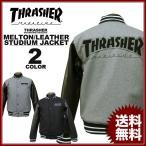 スラッシャー THRASHER スタジアムジャケット スタジャンMAG MELTON/LEATHER STUDIUM JACKET 袖革 袖レザー ブラック 黒 グレー メンズ レディース