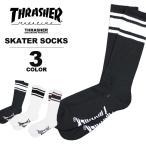 高袜 - スラッシャー THRASHER スケーター ソックス MAG SKATER SOCKS 靴下 ブラック 黒 ホワイト 白 メンズ
