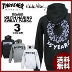 スラッシャー THRASHER スエット パーカ パーカー ブラック 黒 グレー ホワイト 白 メンズ Keith Haring 35YEARS SWEAT PARKA キースヘリング コラボ