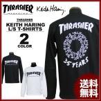 スラッシャー THRASHER 長袖Tシャツ ロンTEE ロンティ ブラック 黒 ホワイト 白 メンズ Keith Haring 35YEARS L/S T-SHIRTS キースヘリング コラボ