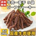 送料無料 国産 牛肉一夜干 5袋セット ソフトビーフジャーキー 250g(50g×5) 国産牛肉