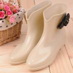 Felicia Felice(フェリシア フェリーチェ) レインブーツ 雨靴 サイドカメリア 37EUR(日本サイズ23.5cm) クリーム×ブラック