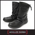 Achilles SORBO ウィンター アキレスソルボ レディース 本革 スノーブーツ 160 ブラック 防滑 ハーフ丈 ショートブーツ