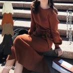 ショッピングパフスリーブ ワンピース リブニット ベルト付き袖コン パフスリーブ カジュアル スリットfeminine_yfashion