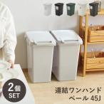SABIRO 連結ワンハンドペール45J 2個セット ゴミ箱  45リットル おしゃれ フタ付き 分別 キッチン 屋内