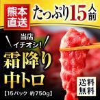 馬刺し 熊本 中トロ 霜降り 750g 約50g×15パック 約15人前 馬肉 馬刺 送料無料 ギフト 肉 食べ物 おつまみ 馬刺