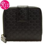 ボーナスセール グッチ GUCCI 財布 二つ折り ブラック マイクログッチシマレザー 449395bmj1g1000 アウトレット限定モデル