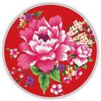 《新太源》(台湾花布柄)紅花系列吸水杯(魔法の吸水コースター 赤) 《台湾 お土産》