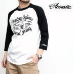 アコースティック Acoustic Tシャツ 7分袖 ベースボールTシャツ ラグランスリーブ メンズ ブランド アメカジ ルード バイカー (66-ac7002)