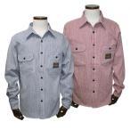 クリームソーダ  CSヒッコリーストライプワークシャツ ネイビー/レッド CREAM SODA