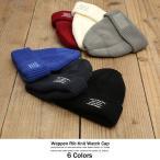 ニットキャップ メンズ ワッチ ニット帽 帽子 リブ編み ワッペン