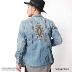 ショッピングダンガリー デニムシャツ メンズ 刺繍 ダンガリーシャツ バック刺繍 インディゴ リメイク