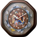 リズム時計工業 キャラクターからくり ワンピースからくり時計 ブラウンメタリック 4MH880-M06