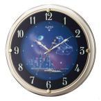 リズム時計工業 SmallWorld スモールワールド 電波壁掛け時計 4MY819RH18 ファンタジータウンR シャンペンゴールド アナログ