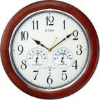 シチズン リズム時計工業 ネムリーナインフォートW 温度計湿度計付き 電波壁掛け時計 8MY464-006 茶色 アナログ木枠