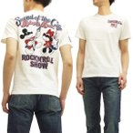 ミッキーマウス Tシャツ 58504 ミニーマウス ロックンロール ローブローナックル メンズ 半袖tee 白 新品