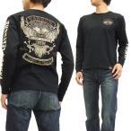 VANSON 長袖Tシャツ バンソン ロンT NVLT-512 アメリカンイーグルエンブレム 刺繍Tシャツ 黒 新品