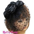 ウェディングやパーティーに ドットベール付きフラワー&リボンヘッドドレス ブラック  ヘアアクセ  コサージュ ヘアピン セレブ 結婚式 二次会 黒