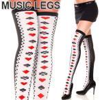 ショッピングニーハイ MusicLegs(ミュージックレッグ) トランプ柄サイハイソックス 4606 靴下 アリス コスプレ ニーハイソックス オーバーニーソックス レディース ダンス衣装