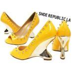 Sale♪LA直輸入♪22.5〜27cm Shoe Republic LA ゴールドスパイクスタッズ付きエナメルパンプス【マンゴー】 セレブ Bガール HIPHOP
