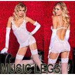 MusicLegs(ミュージックレッグ)レース×リボン アンダーワイヤー入りメッシュミニドレス&ショーツ2点セット ホワイト 52053 ウェディング 下着 白