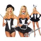 期間限定SALE Leg Avenue(レッグアベニュー)スパンコールタキシードデザインコルセット2654 黒白バニーガールメイドコスプレコスチュームダンス衣装