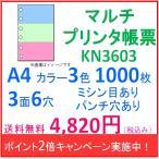 ポイント2倍!ミシン目入り マルチプリンタ帳票 カラー3色 A4 パンチ穴有り 3面6穴  1000枚入り KN3603