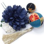 髪飾り 成人式 振袖 袴 3点セット 藍 大人 浴衣 かんざし 簪 卒業式 フォーマル 結婚式 花飾り 玉飾り つまみ細工 ちりめん W28 W303-263 髪飾り 藍 n770